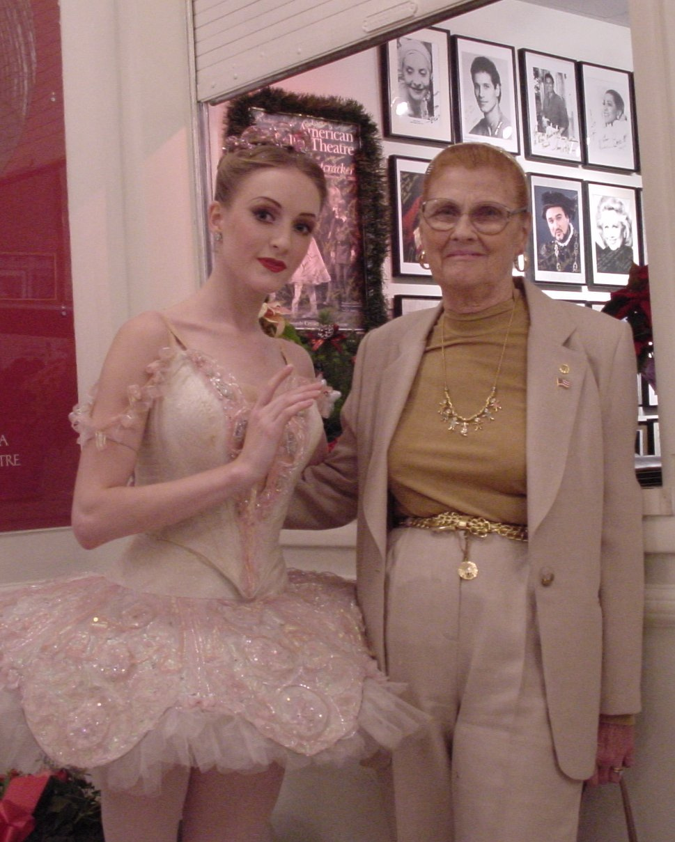 Gillian backstage with her proud grandmother, Grace Murphy.